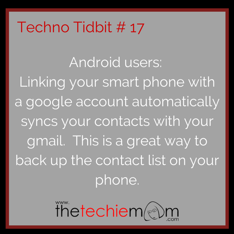Techno Tidbit #17 back up your contacts using gmail