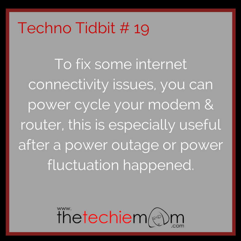 Techno Tidbit #19 power cycling modem router